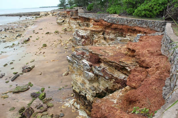 Every year after the wet season more of the coastline is eroded away.